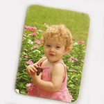 Refrigerator magnets come in two sizes: 3.5 x 5 and 2.5 x 3.5 inches. They have rounded corners and a matte finish.<br /> <br /> The strong magnet will not allow it to slip on the refrigerator door. They are flexible, so they can conform to somewhat curved surfaces.<br /> <br /> Your photo must be at least 350 x 480 pixels in size.<br /> <br /> Color reproduction is impressive, but not quite as accurate as photographic prints.