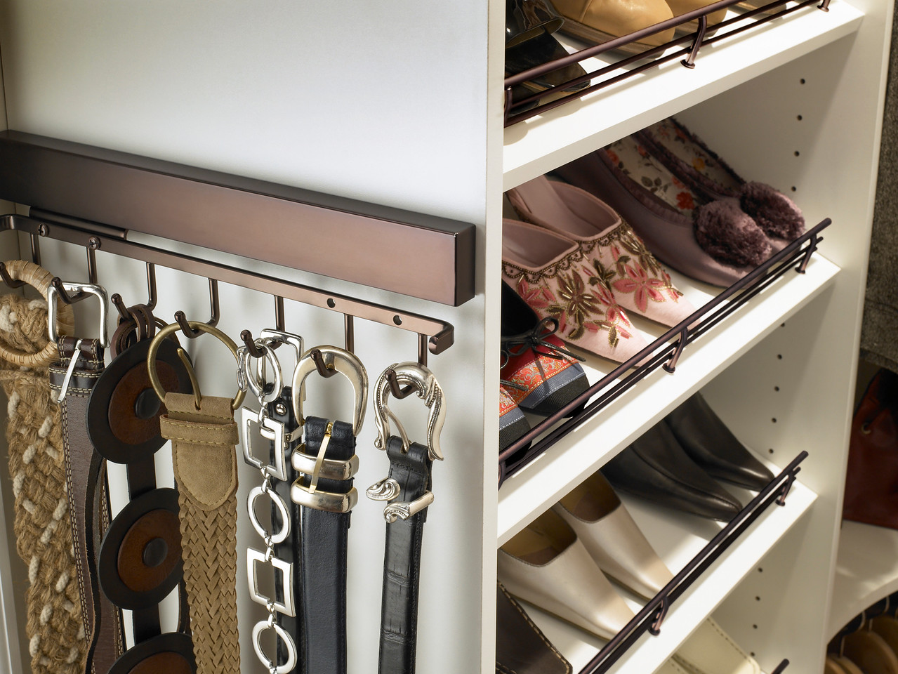 ClosetMaid MasterSuite Belt And Tie Rack Shoe Shelves With Oil Rubbed Bronze Hardware