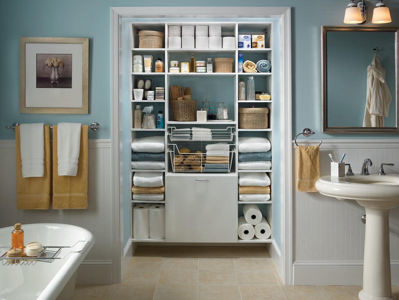 Bathroom linen closet featuring ClosetMaid MasterSuite in White