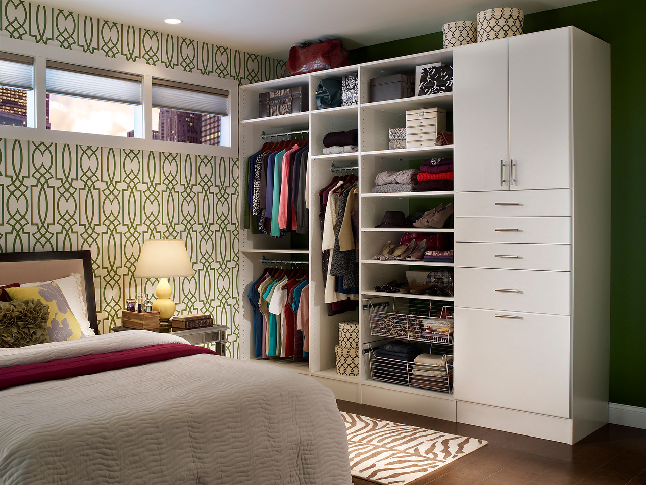 Reach-in closet created with ClosetMaid MasterSuite in White