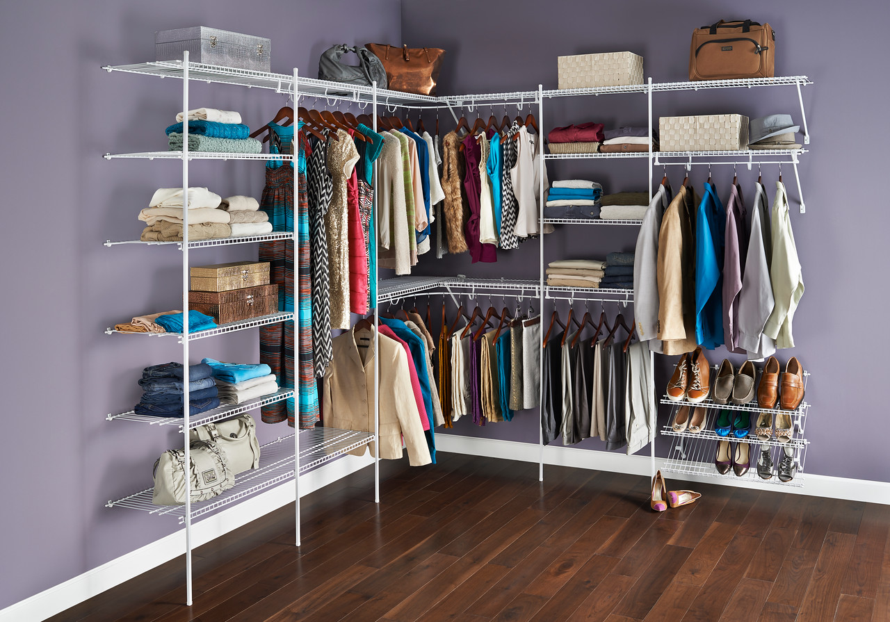 Closet featuring ClosetMaid wire shelving with TotalSlide Pro.  TotalSlide Pro easily attaches to standard wire shelves and provides continuous slide for hangers.