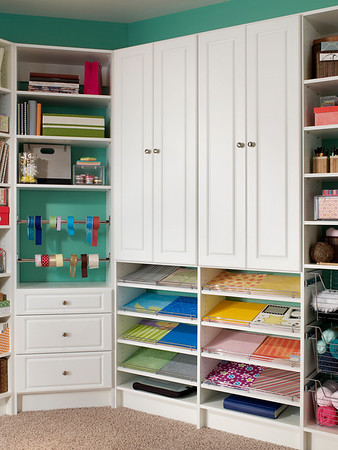 Craftroom storage space featuring ClosetMaid MasterSuite in White