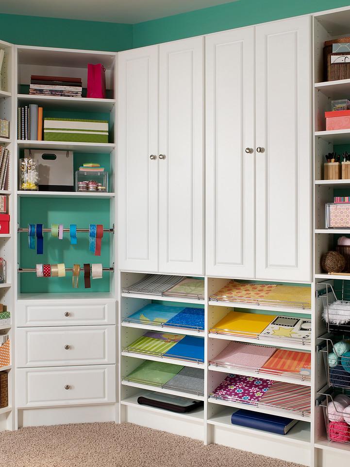 Craftroom storage space featuring ClosetMaid MasterSuite in White