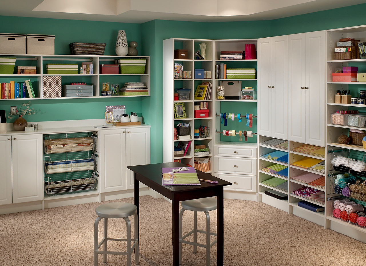 Craftroom with storage areas featuring ClosetMaid MasterSuite in White