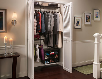 ShelfTrack Elite in Chocolate. Available through ClosetMaid Authorized Dealers and on ClosetMaid.com.