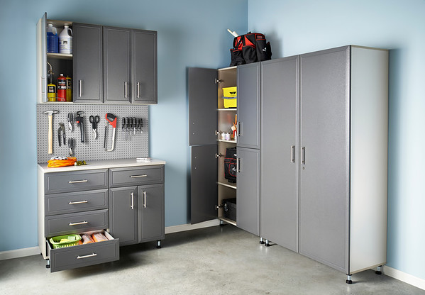 ClosetMaid ProGarage, a durable line of storage cabinets for the garage.  Available in a variety of sizes, ProGarage is customizable and features a stain-, scratch- and impact-resistant TuffShell™ powder-coated finish on its doors and drawer fronts.