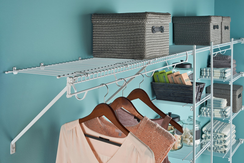 ClosetMaid wire shelving with TotalSlide Pro.  TotalSlide Pro easily attaches to standard wire shelves and provides continuous slide for hangers.