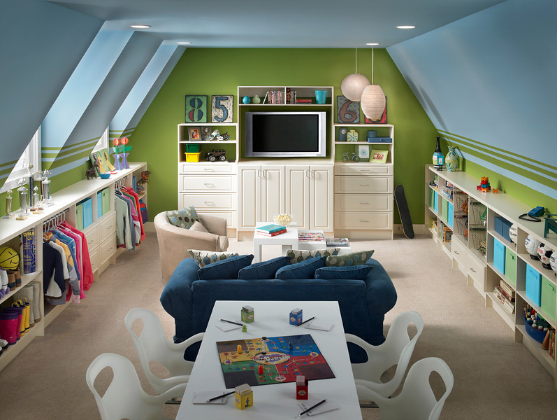 Playroom with storage areas created with ClosetMaid MasterSuite in Antique White