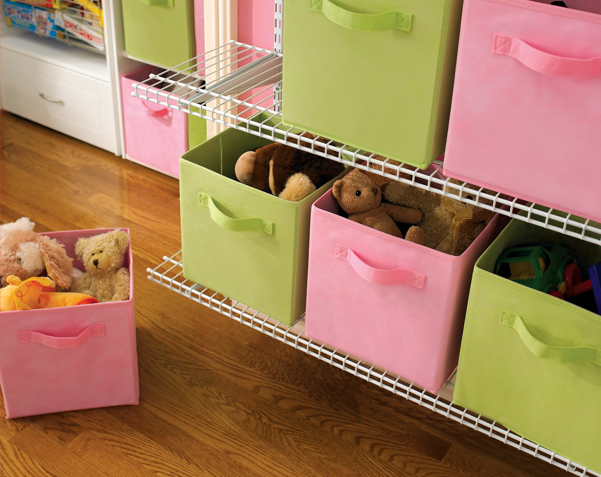 ClosetMaid's versatile Fabric Drawers come in more than 20 different colors. Shown:  Pink and Green.