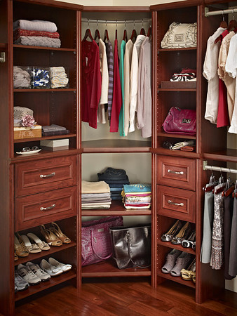 ClosetMaid Impressions Corner Unit in Dark Cherry.