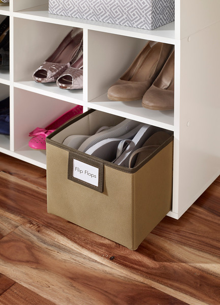ClosetMaid Shoe Organizer in White with fabric bin in Mocha.