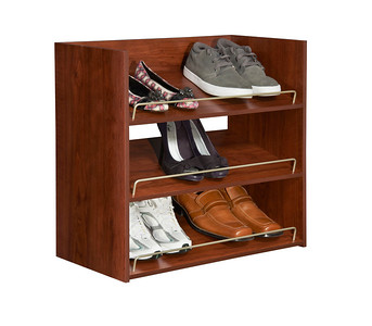 Impressions 3-Shelf Shoe Organizer in Dark Cherry; also available in Chocolate.