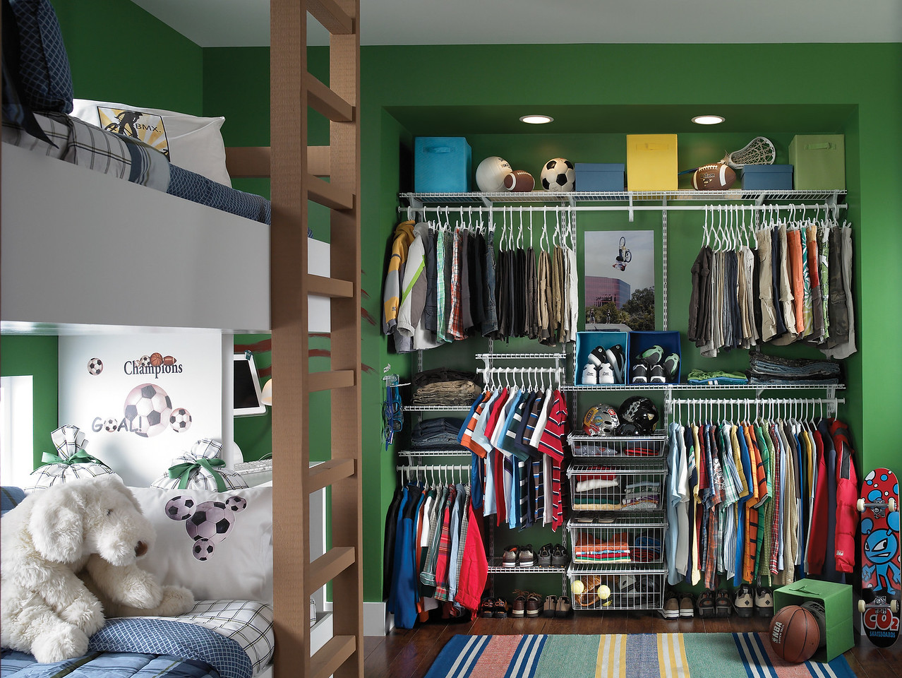 Reach In Closet Featuring ClosetMaid ShelfTrack, An Adjustable Mounting  System.