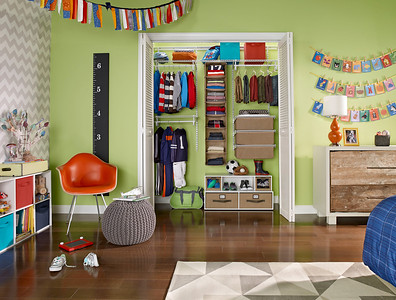Closet featuring ClosetMaid ShelfTrack with a hanging organizer, wire drawer kit and a Floor Organizer. Add additional storage outside of the closet with Cubeicals Organizers, available in various sizes.