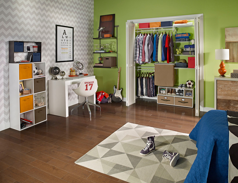 Bedroom kids closetmaidmediakit closet featuring closetmaid shelftrack with canvas hamper and a floor organizer add additional storage outside solutioingenieria Image collections