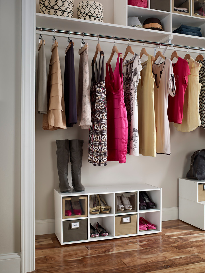 ClosetMaid Shoe Organizer with fabric bins in Mocha and Brown.