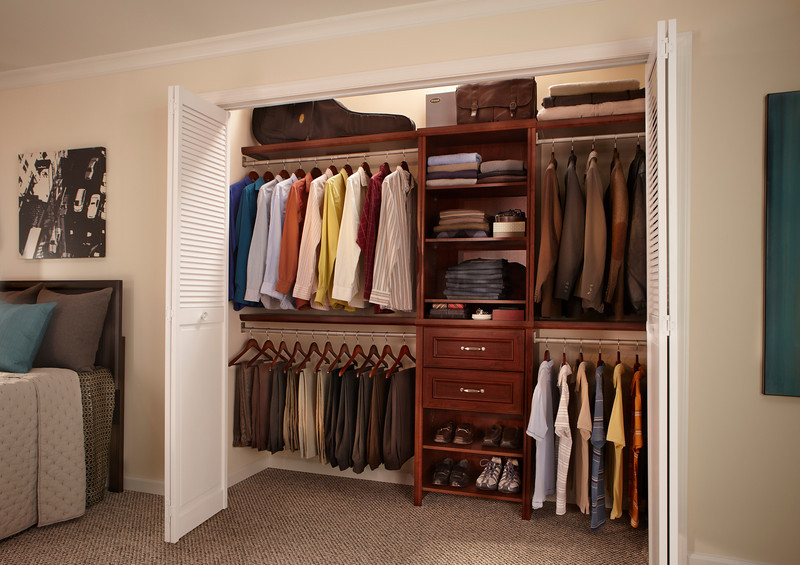 Reach-in closet using ClosetMaid Impressions, a DIY Laminate line in Dark Cherry