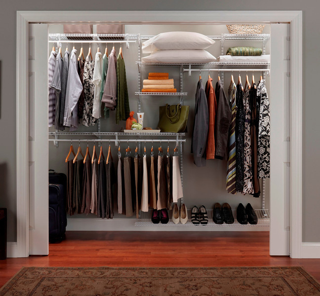 Reach-in closet using ClosetMaid Shelftrack in White
