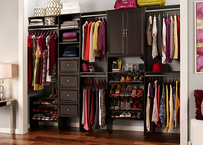 Reach-in closet using ClosetMaid's SuiteSymphony in Espresso