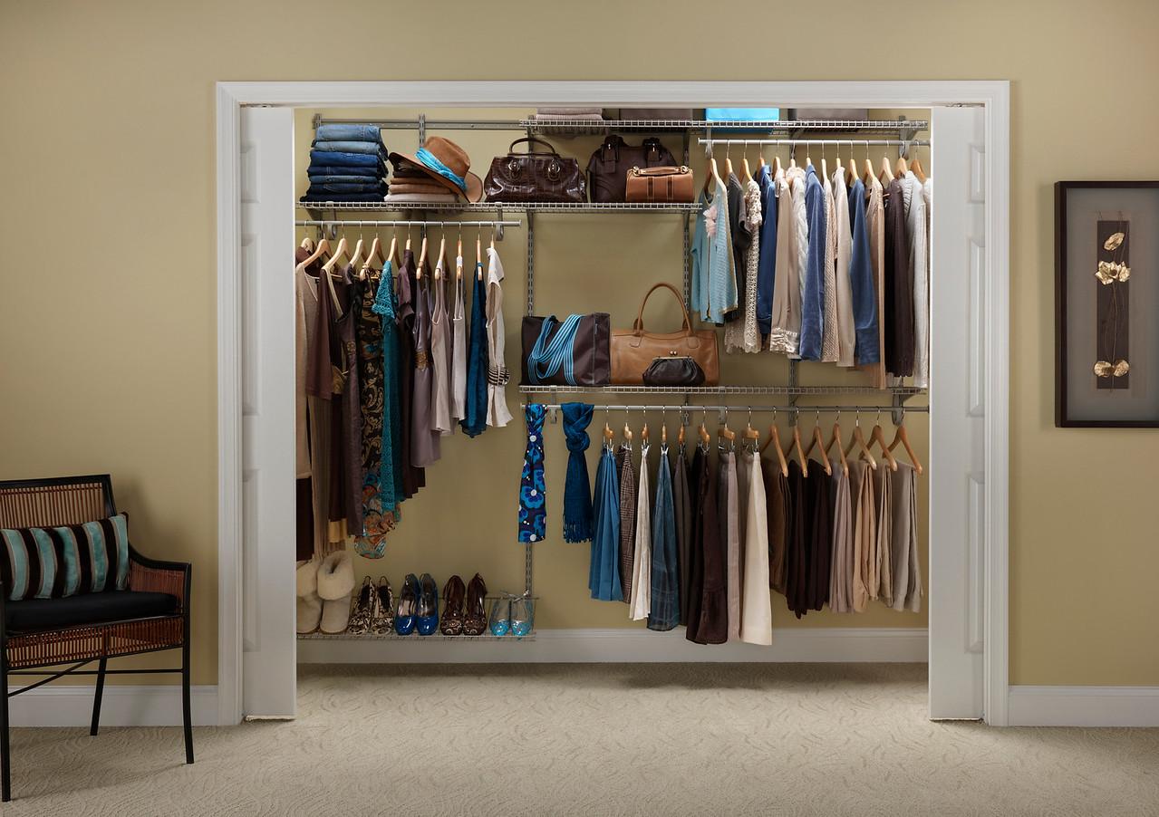 Reach-in closet using ClosetMaid Shelftrack in Nickel