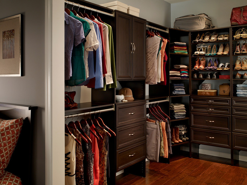Master bedroom closet with ClosetMaid DIY Laminate Shelving in Espresso
