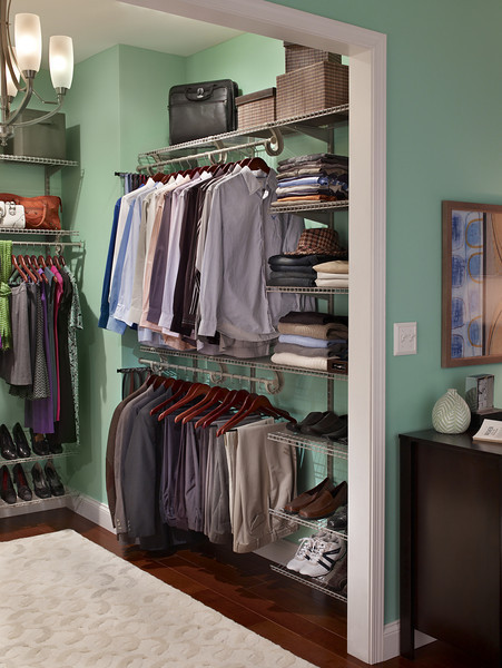 Master bedroom closet with ClosetMaid ShelfTrack in Nickel