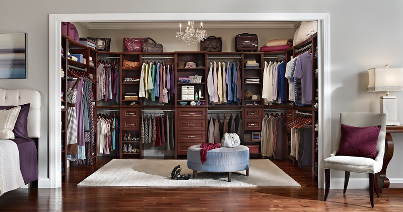 Master bedroom closet with ClosetMaid Impressions in Dark Cherry