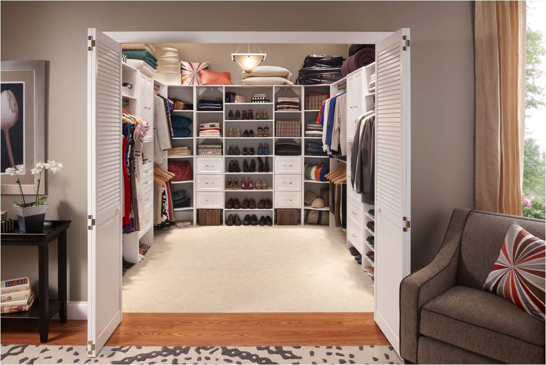 Master bedroom closet with ClosetMaid Selectives in White