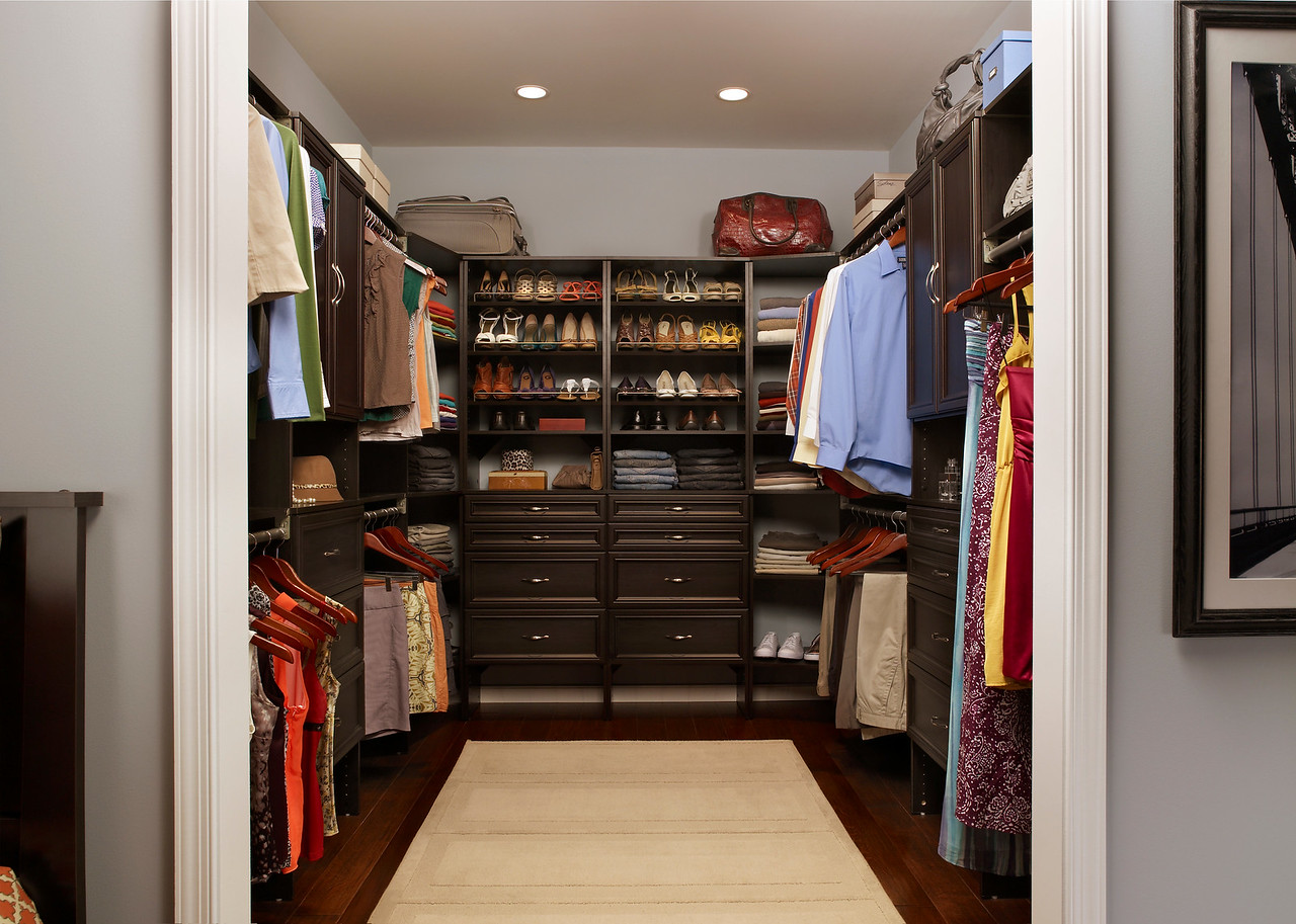 Master bedroom closet with ClosetMaid SuiteSymphony in Espresso