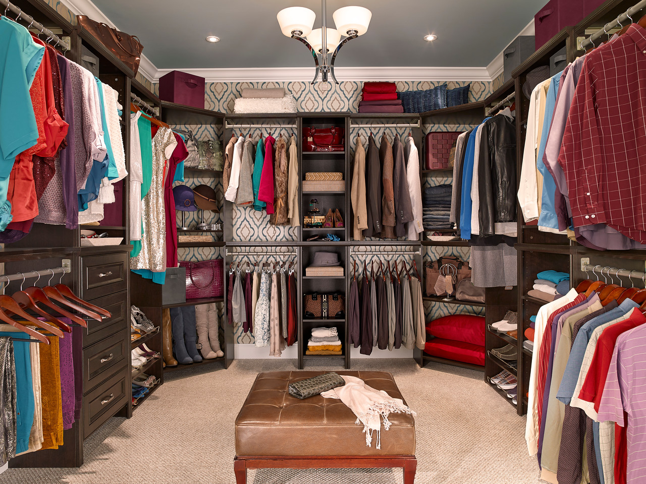 Walk-in closet featuring ClosetMaid Impressions in Chocolate
