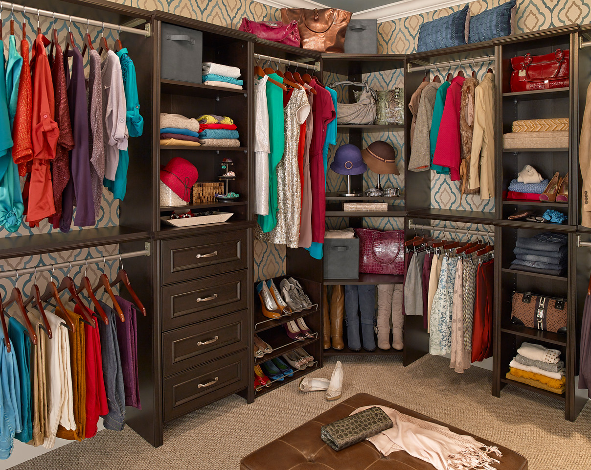 Charming Walk In Closet Featuring ClosetMaid Impressions In Chocolate.