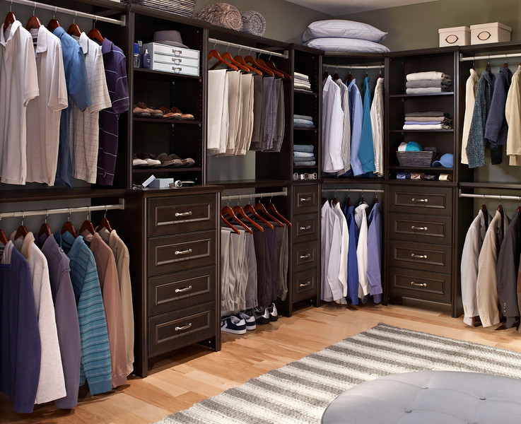 Walk In Closet Featuring ClosetMaid Impressions In Chocolate