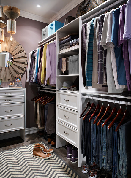 Master bedroom closet with ClosetMaid Selectives in White.