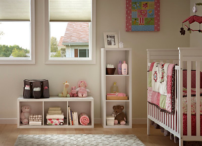 Nursery room storage created with ClosetMaid Decorative Storage 3-Cube Organizers in White