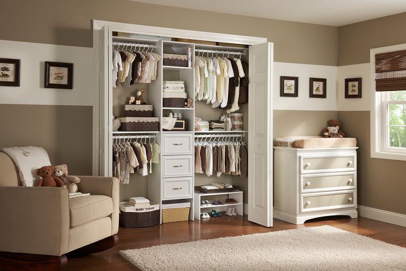 Nursery Reach In Closet With ClosetMaid Selectives In White