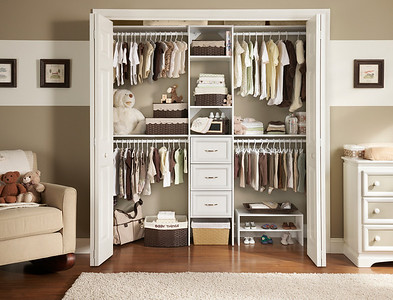 Nursery reach-in closet with ClosetMaid Selectives in White