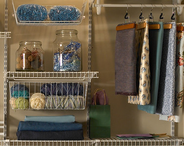 Craftroom storage area using ClosetMaid ShelfTrack in White