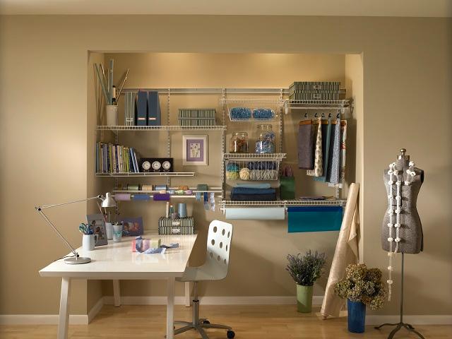 Craftroom using ClosetMaid ShelfTrack in White