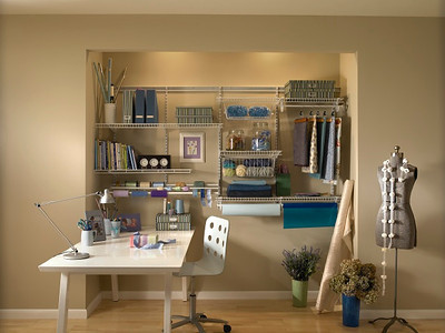 Craftroom using ClosetMaid ShelfTrack in White