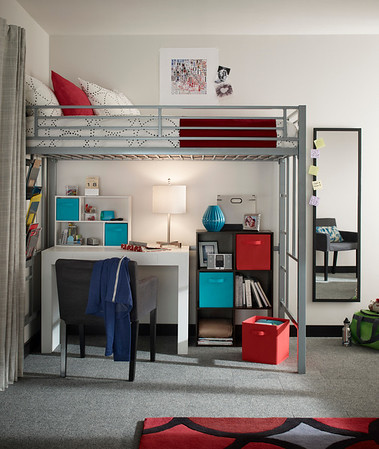 Study area featuring a ClosetMaid Cubeicals 6-Cube Organizer,  Mini Off-set Organizer and Fabric Drawers.