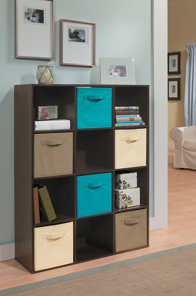 ClosetMaid Cubeicals 12-Cube Organizer in Espresso with Fabric Drawers in Ocean Blue, Mocha and Natural