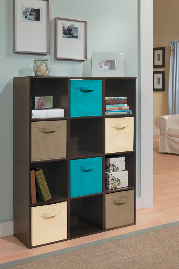 Awesome ClosetMaid Cubeicals 12 Cube Organizer In Espresso With Fabric Drawers In  Ocean Blue, Mocha