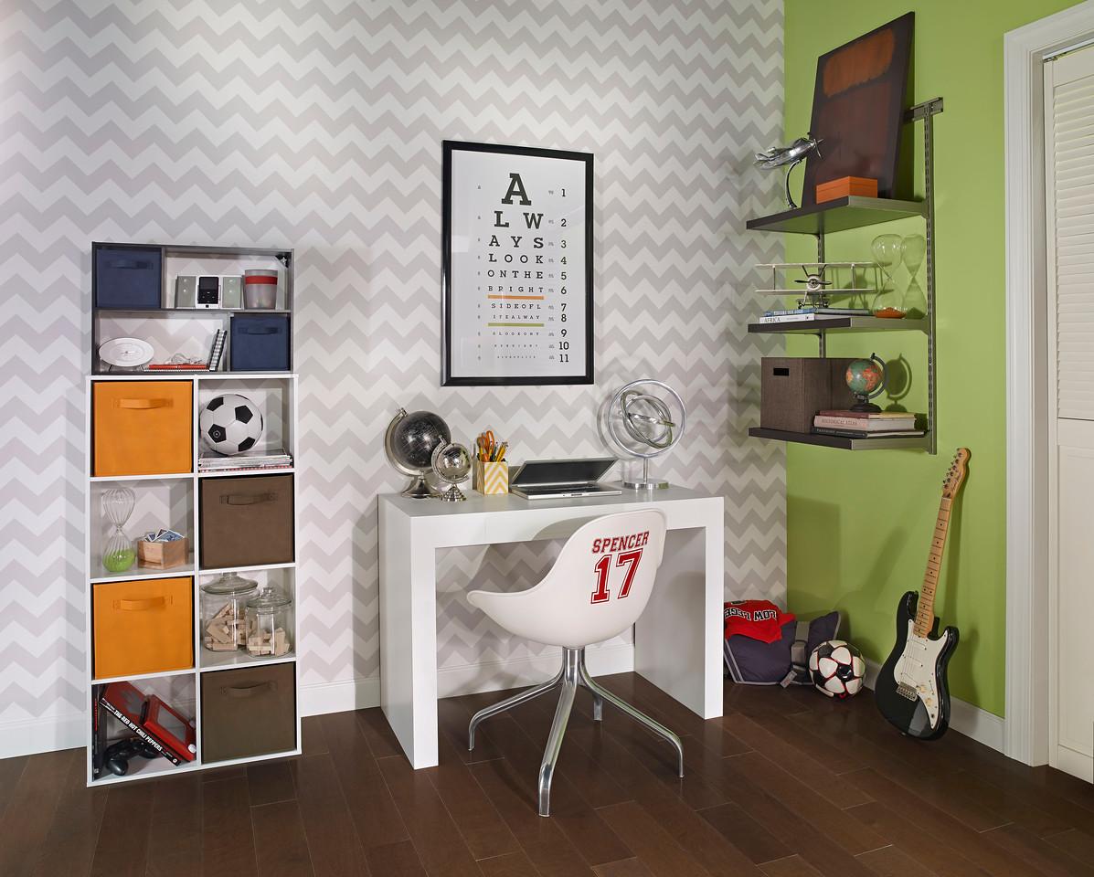 Study area featuring ClosetMaid Cubeicals - an 8-Cube Organizer and Mini Off-set Organizer - and a ShelfTrack Elite Bookshelf Kit.