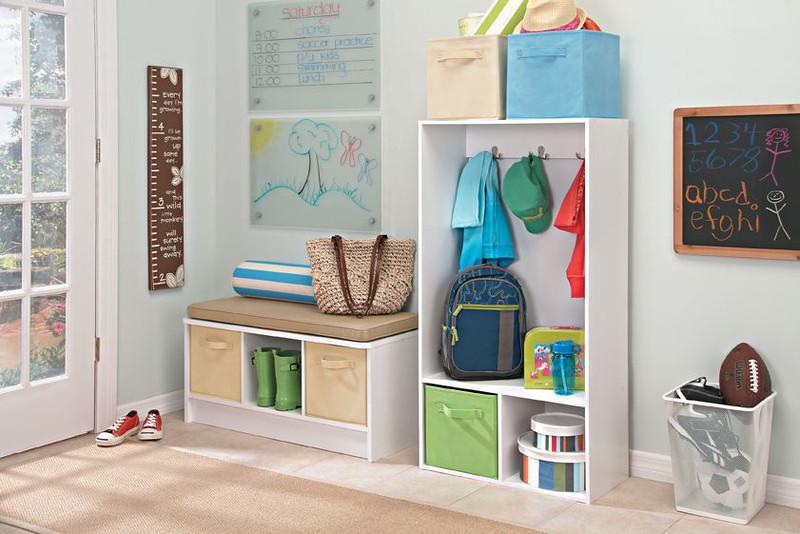 ClosetMaid Storage Locker and Cubeicals 3-Cube Storage Bench in White