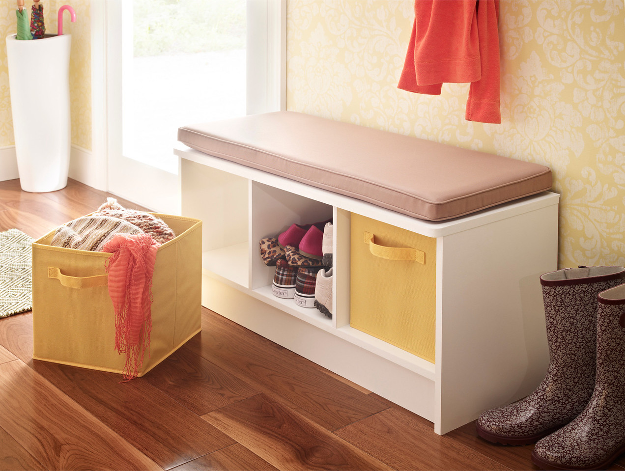 Entryway featuring a ClosetMaid Cubeicals 3-Cube Storage Bench in White with Fabric Drawers in Yellow