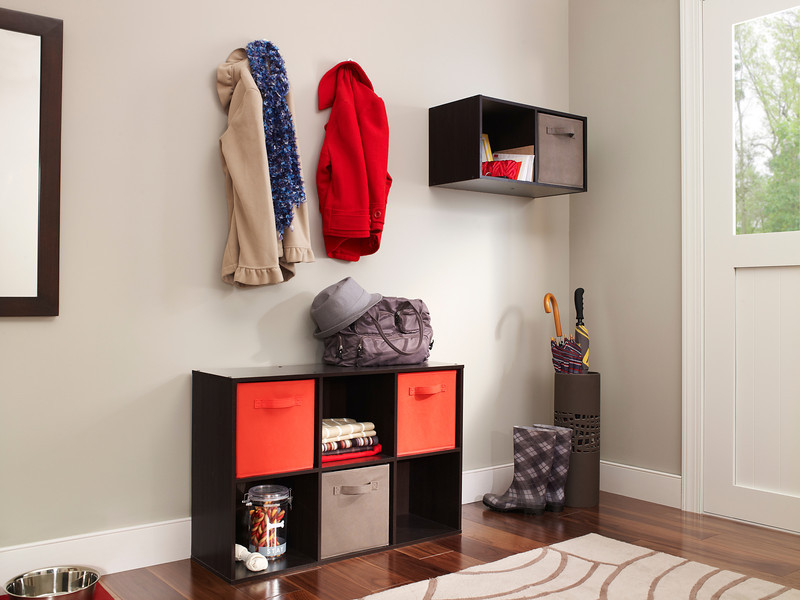 Entryway storage created with ClosetMaid Cubeicals Organizers in Espresso