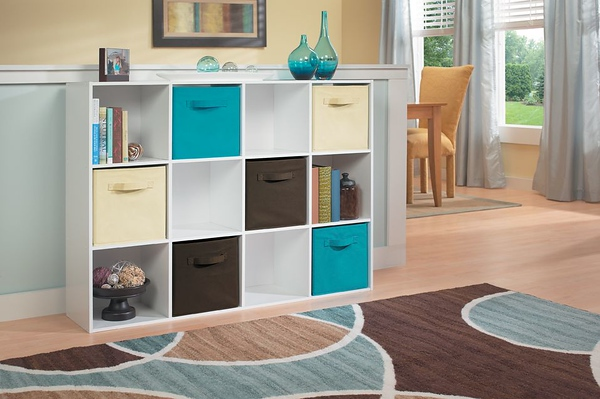 ClosetMaid Cubeicals 12-Cube Organizer in White with Fabric Drawers in Ocean Blue, Natural and Canteen