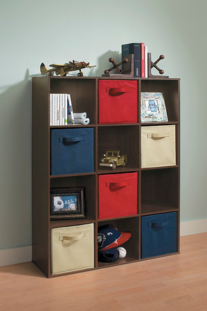 ClosetMaid Cubeicals 12-Cube Organizer in Espresso with Fabric Drawers in Denim Blue, Red and Natural.