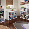 Crafting area with storage space created with ClosetMaid Decorative Storage 3-, 6- and 9-Cube Organizers in White