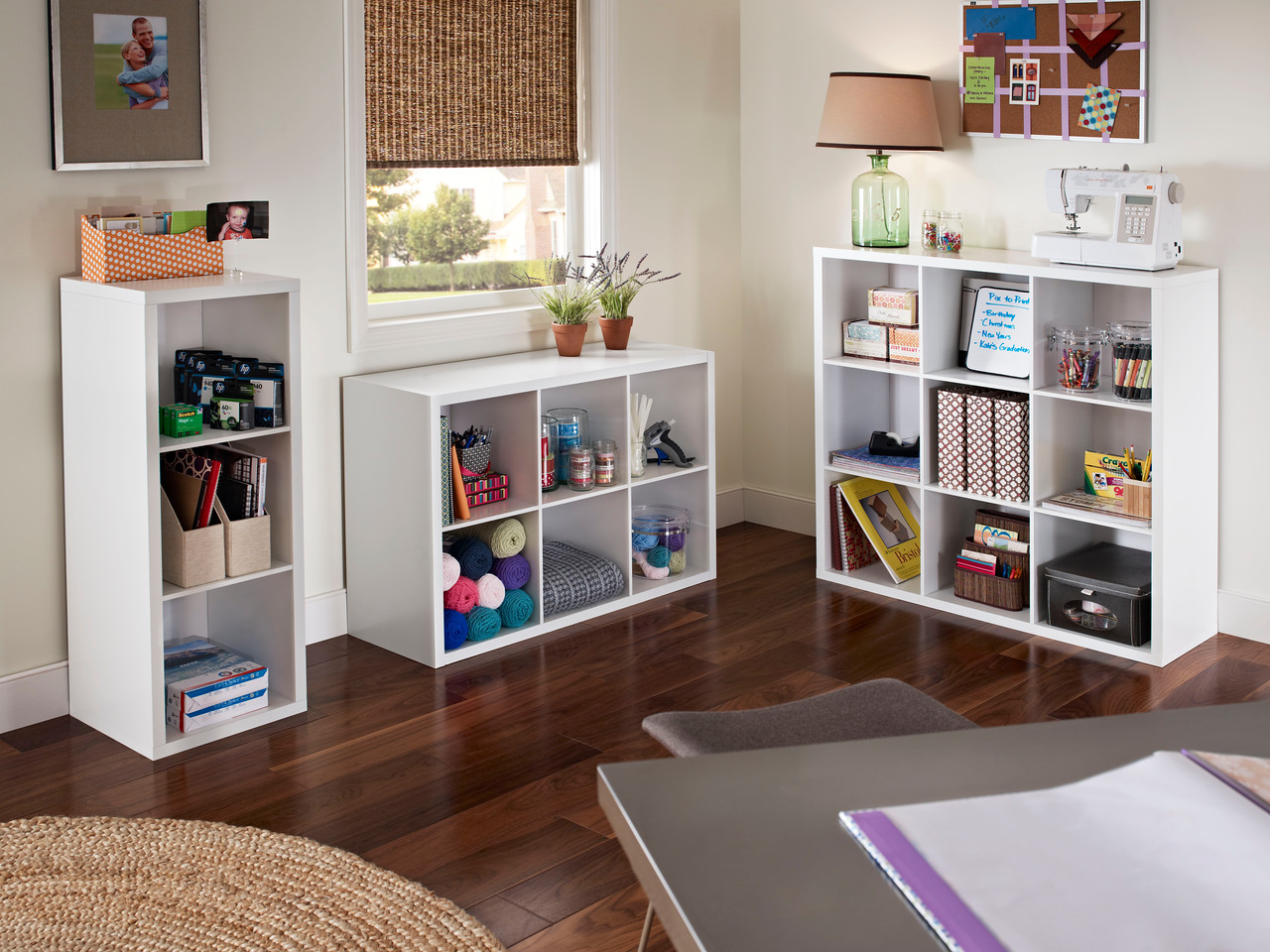 Crafting Area With Storage Space Created With ClosetMaid Decorative Storage  3 , 6  And